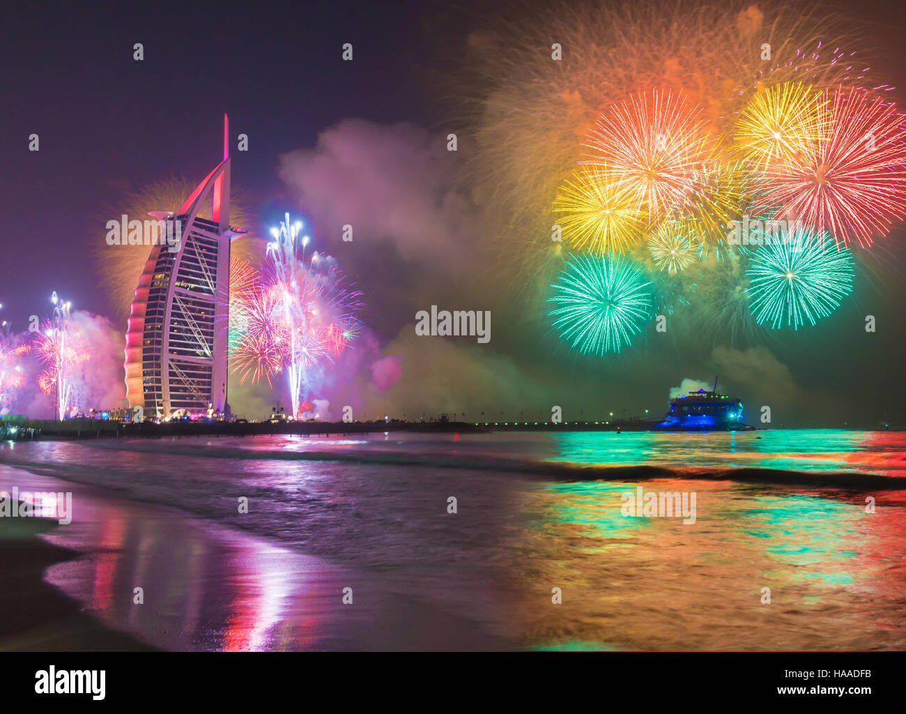 Burj Al Arab in Dubai Jumeirah Beach celebarating the new year eve - Stock Image