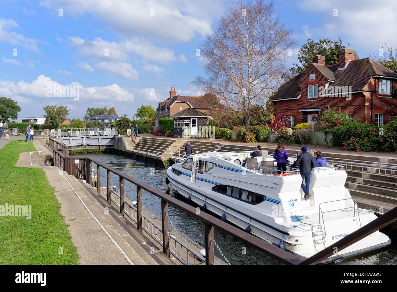 Old Windsor lock on the River Thames Windsor Berkshire England UK - Stock Image