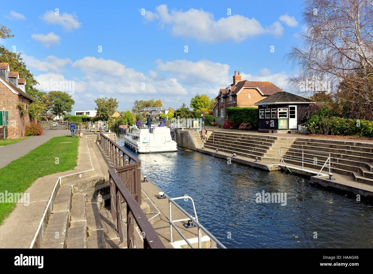 Old Windsor lock on the River Thames UK - Stock Image