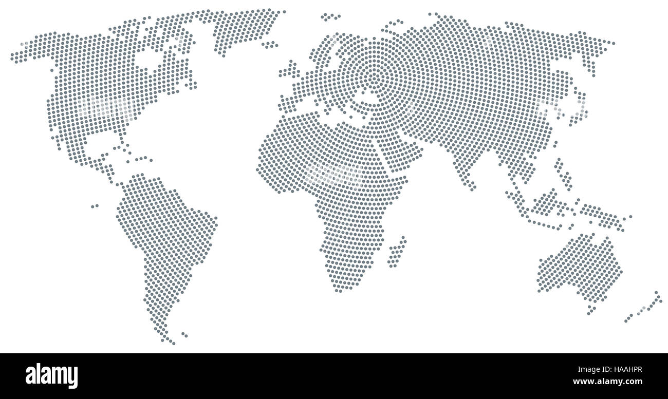 World map radial dot pattern. Gray dots going from the center outwards and form the silhouette of the surface of - Stock Image