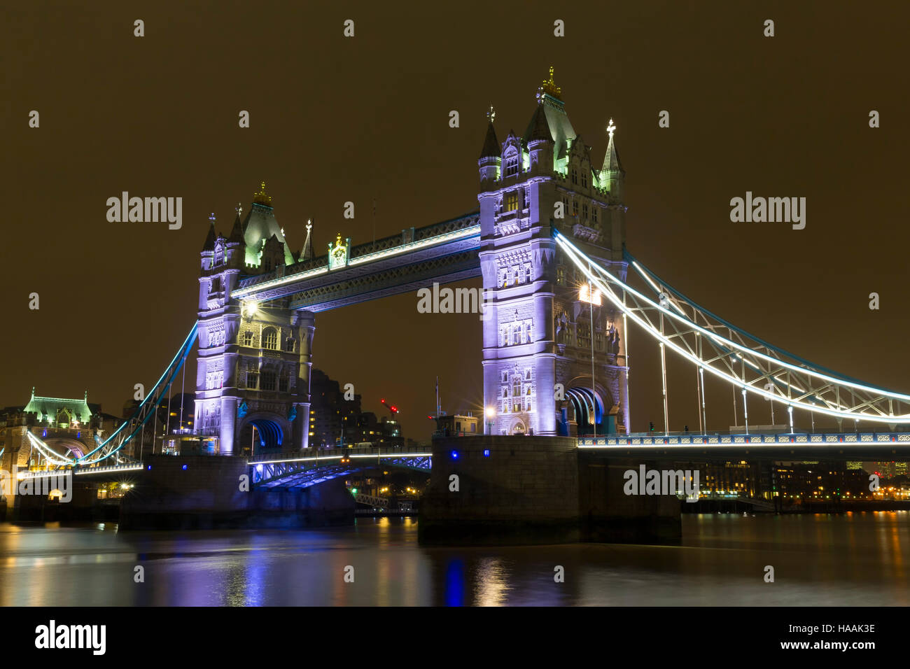 Tower Bridge, at Night from the South Bank, London, England, UK - Stock Image