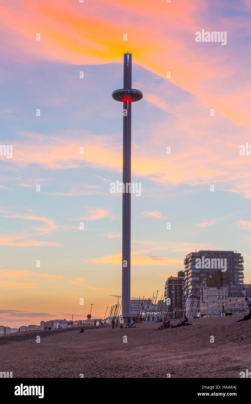 Brighton's newest attraction the British Airways i360 is a 162m High viewing platform. - Stock Image