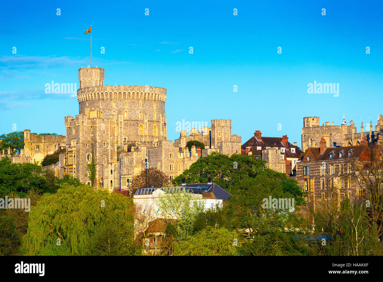 The Round Tower at Windsor Castle. Windsor, Berkshire, England, UK - Stock Image