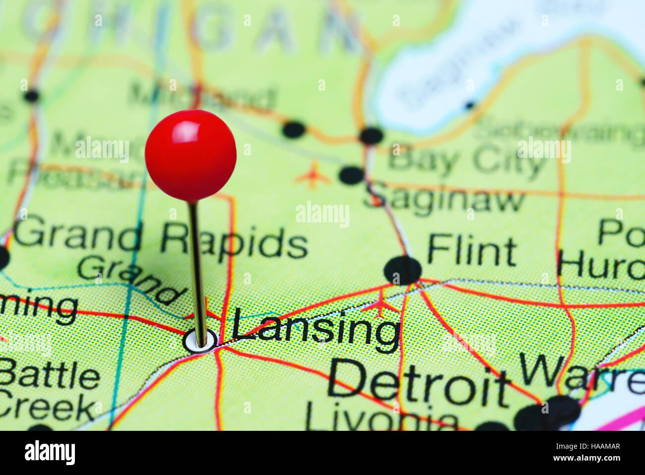 Lansing pinned on a map of Michigan, USA Stock Photo ...