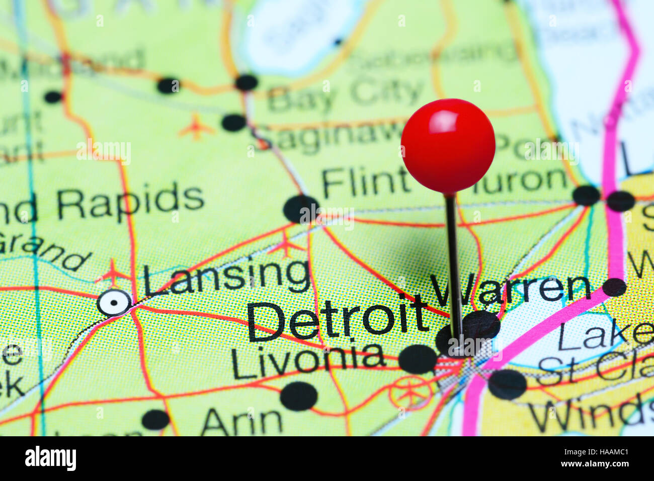 Detroit pinned on a map of Michigan, USA Stock Photo ... on detroit on world map, michigan usa, detroit suburbs map, baltimore map usa, minneapolis map usa, milwaukee map usa, detroit state map, city street maps usa, detroit city map, pittsburgh map usa, detroit area, detroit on us map,