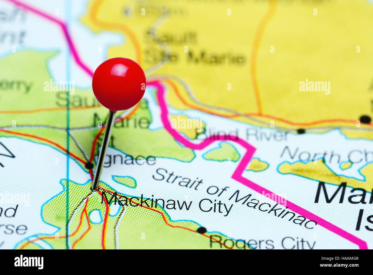 Mackinaw City pinned on a map of Michigan, USA Stock Photo ... on tawas map, united states map, st. ignace map, ironwood map, kalkaska map, cheboygan map, sault ste. marie map, petoskey state park map, gaylord map, dearborn map, holt mi map, port of indiana map, city of petoskey street map, canon city riverwalk trail map, mackinac island map, mackinac county map, michigan map, superior map, peninsula township map, ypsilanti map,