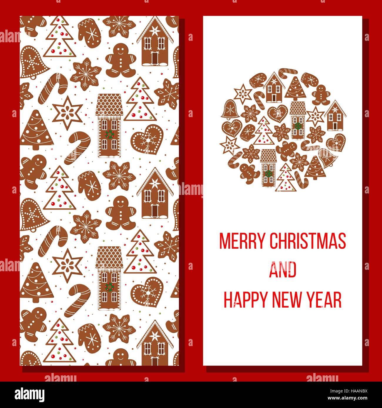 gingerbread christmas and happy new year greetings set with funny figures xmas tree snowflakes cane heart star house hat design elements for p