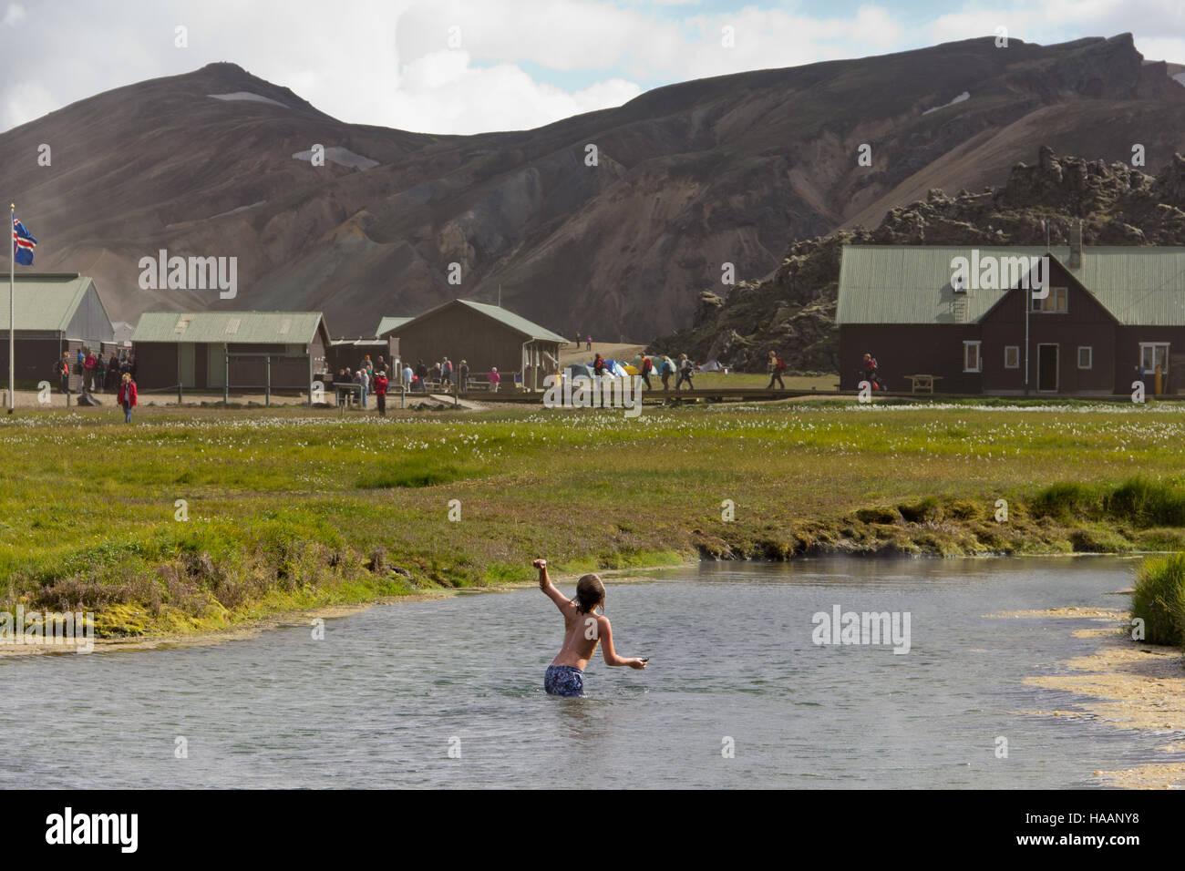 Boy playing in Landmannalaugar - Stock Image