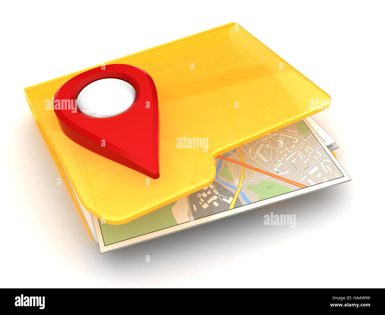 3d illustration of folder icon with maps and navigation symbol - Stock Image