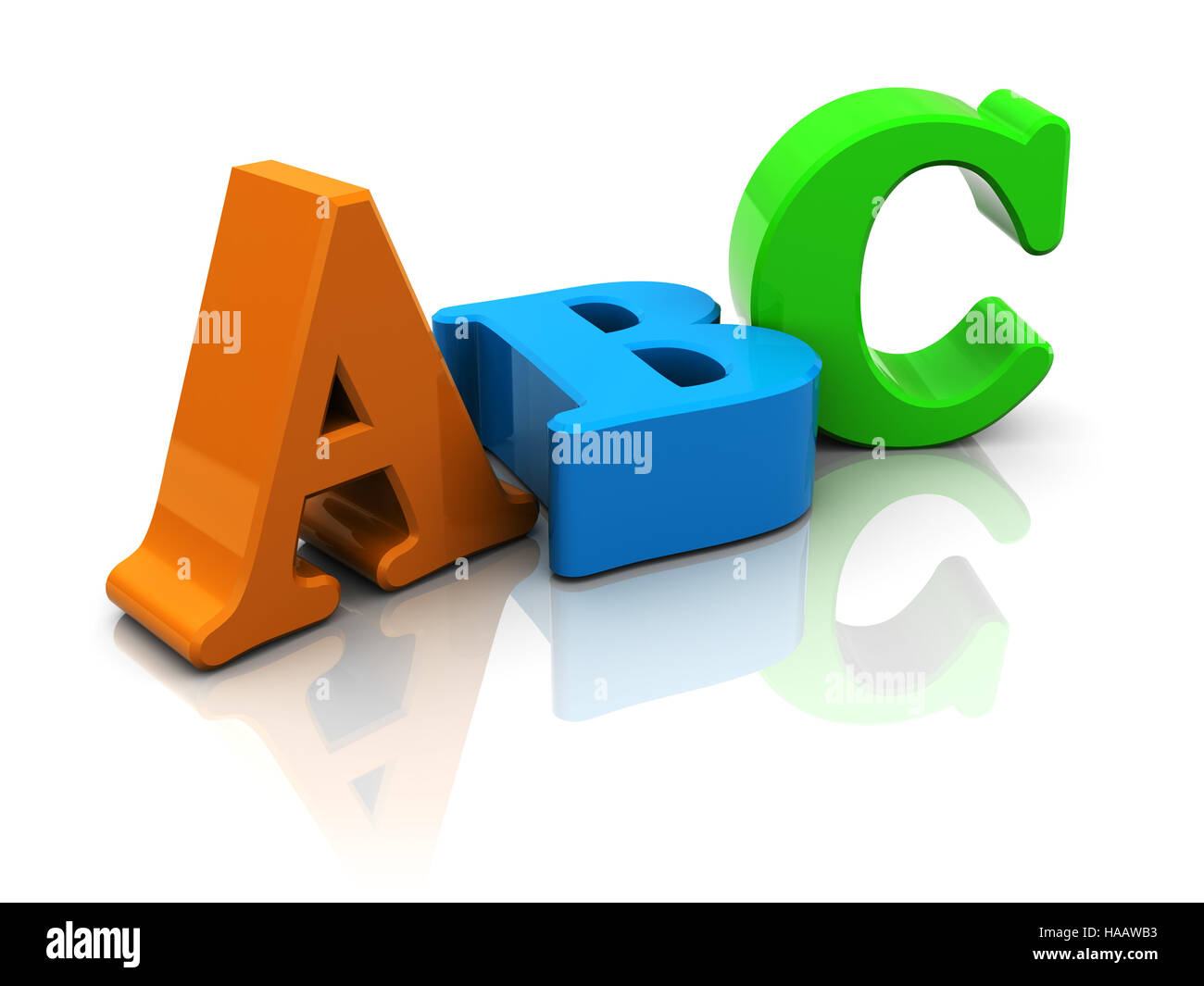 3d illustration of abc letters over white background - Stock Image