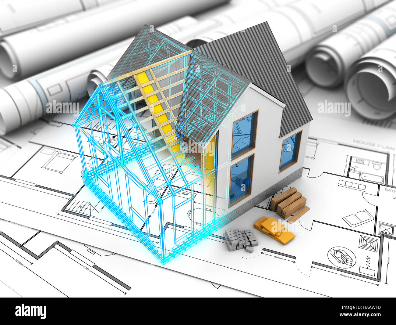 3d illustration of house model with frame and inside structure stock image
