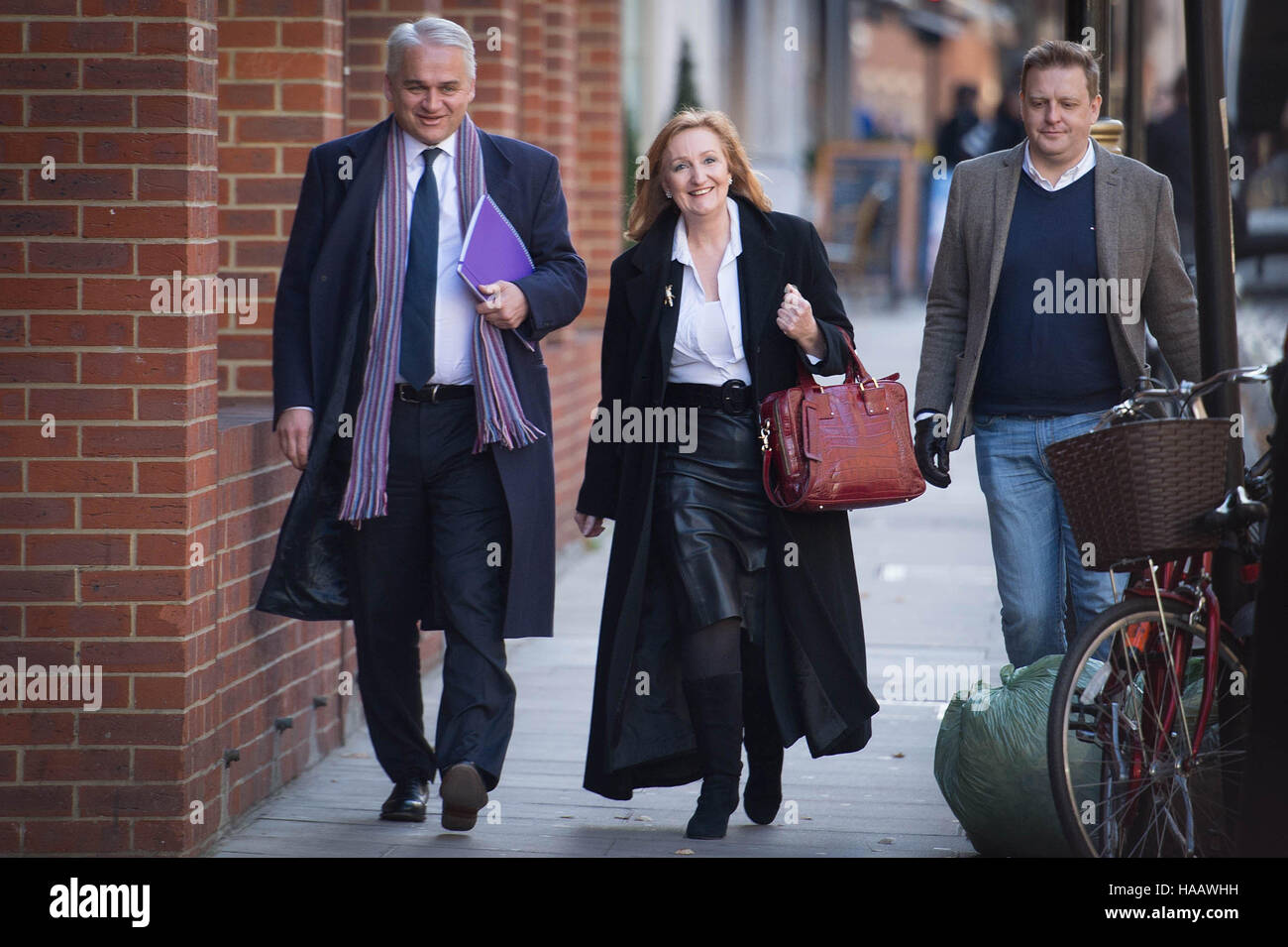 Ukip leadership candidate Suzanne Evans arrives at the Emmanuel Centre in Westminster, London, where the new party - Stock Image