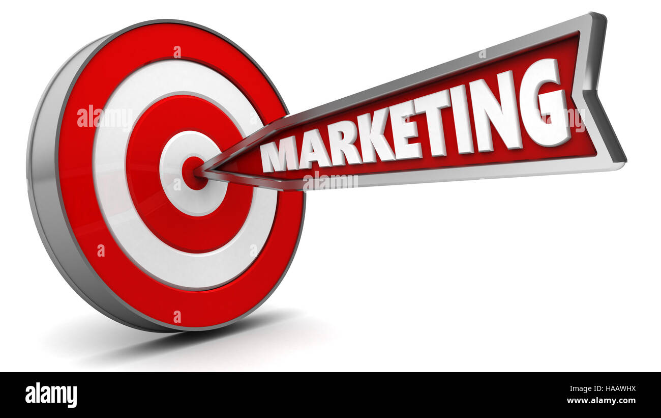 3d illustration of arrow with sign marketing hit target - Stock Image