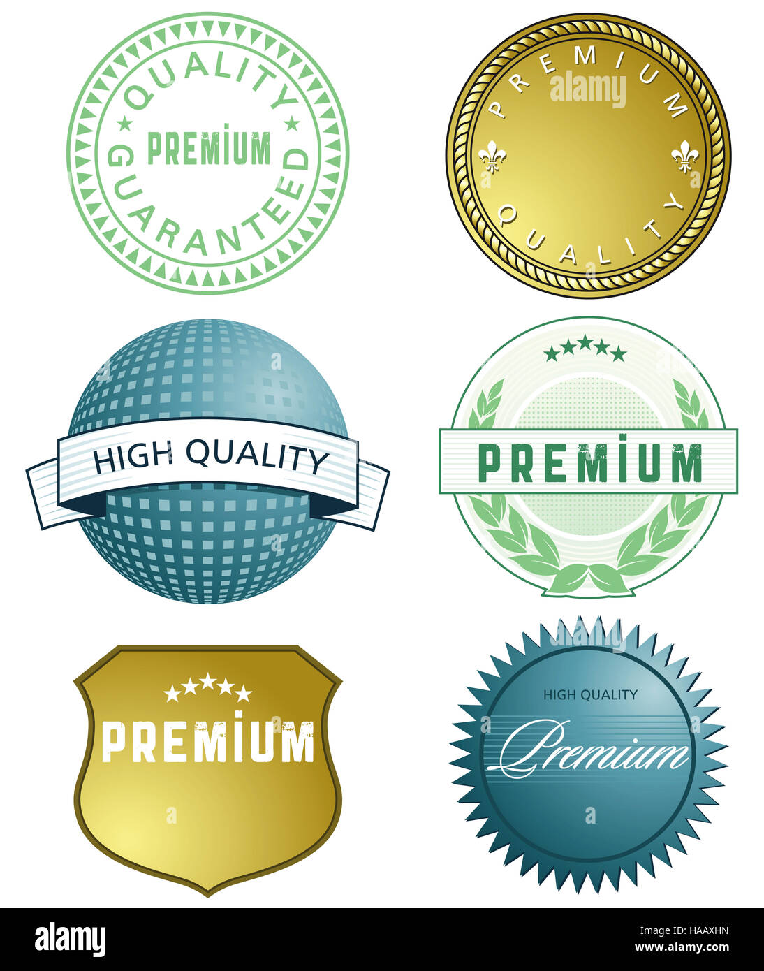 Gold Seal of Approval and emblems - Stock Image