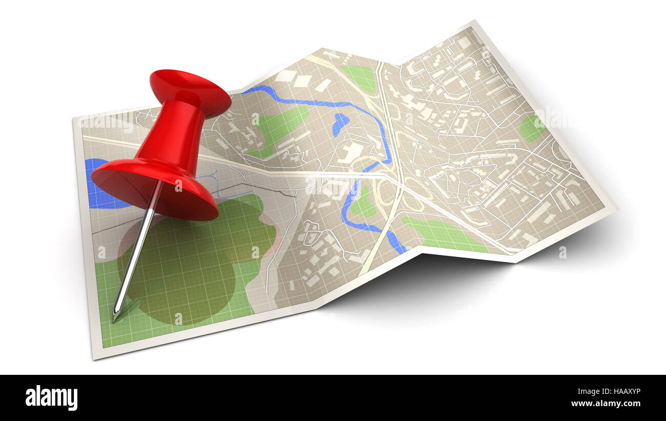 3d illustration of map and red pin, navigation concept - Stock Image