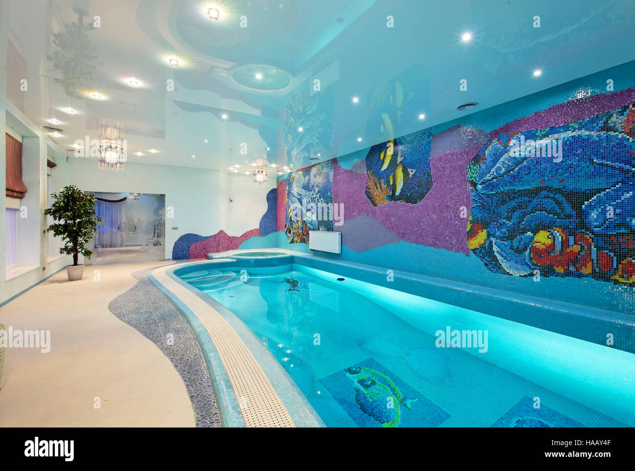Interior design in spa zone with mosaic swimming pool and ...