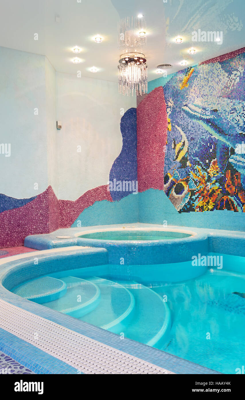 Luxury Swimming Pool Design With Mosaic Tile Stock Photo 126859955 - Luxury-swimming-pool-design