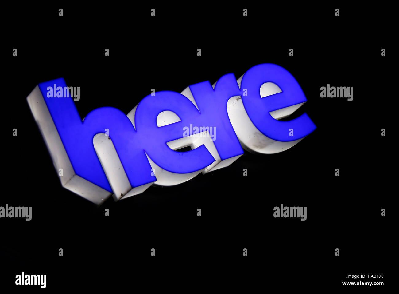 das Logo der Marke 'Here', Berlin. - Stock Image