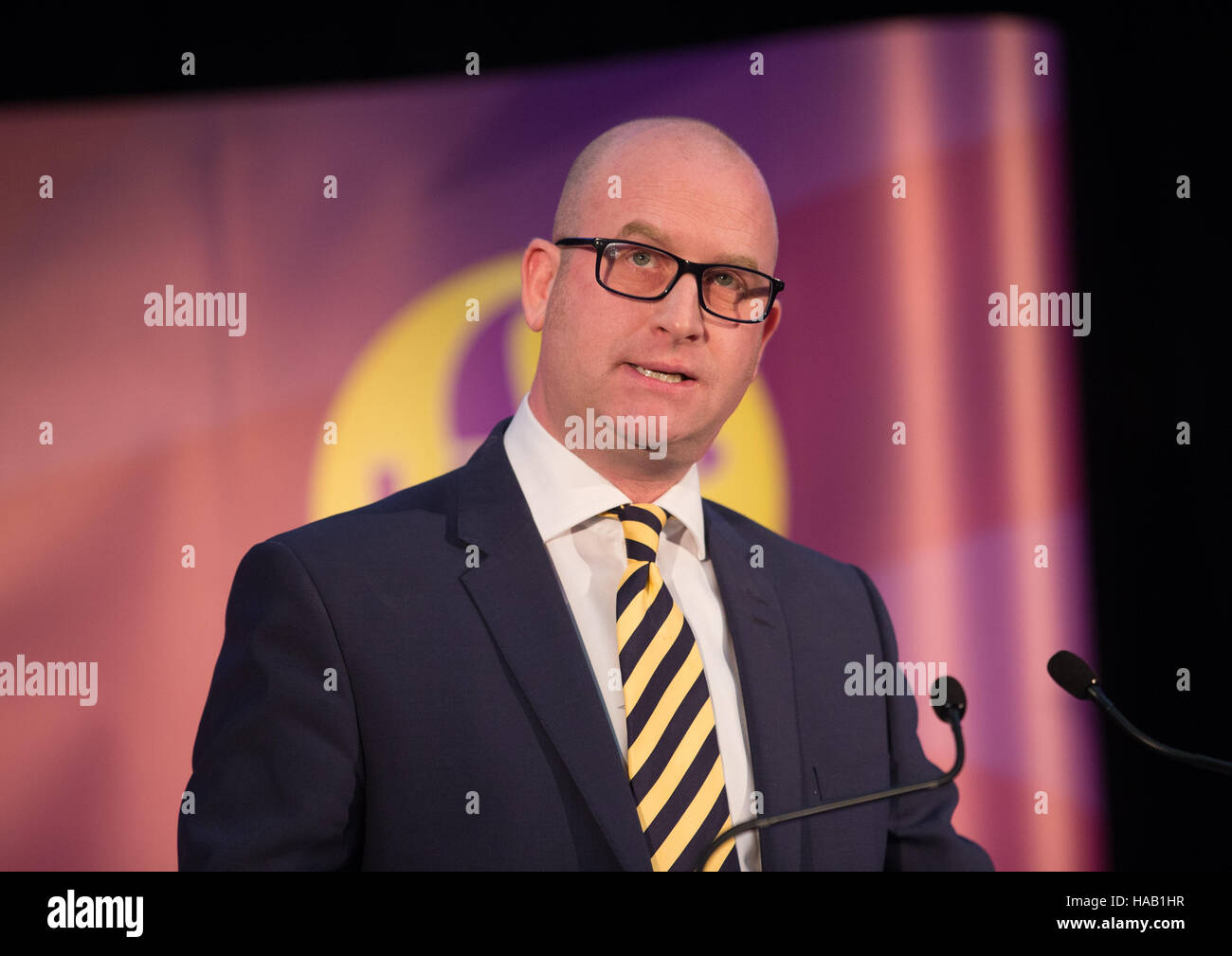 New UKIP leader,Paul Nuttall,makes his acceptance speech as he is announced as the winner of the ballot Stock Photo