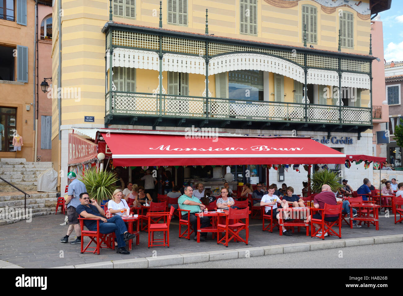 Brasserie or Pavement Café and Customers Cassis Provence France - Stock Image