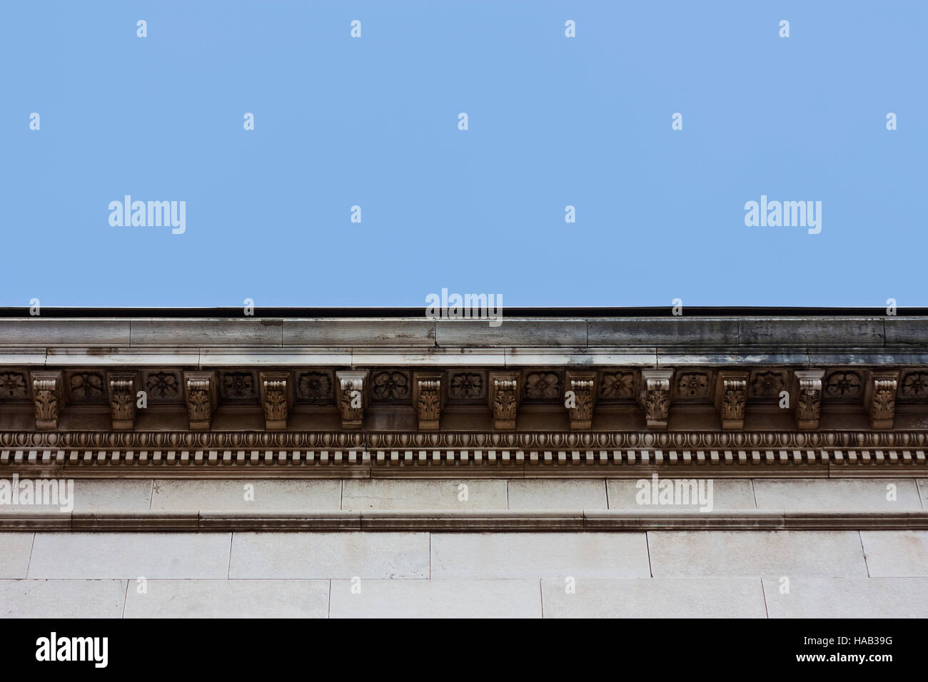 Detail of cullis cornice decoration with ornaments - Stock Image
