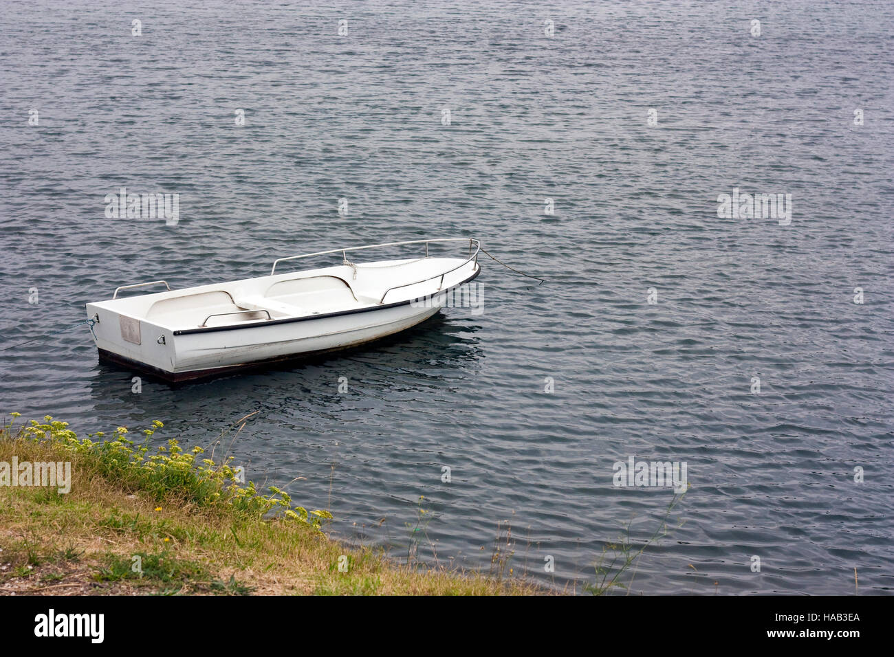 White rowboat anchored near meadow in adriatic - Stock Image