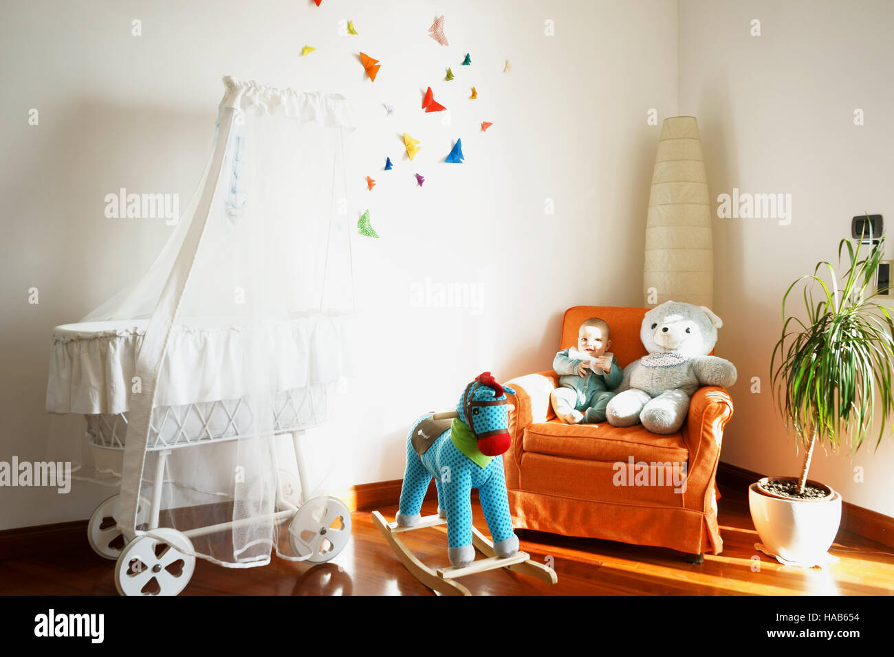 Baby Room Decor With Butterfly Origami And Toys