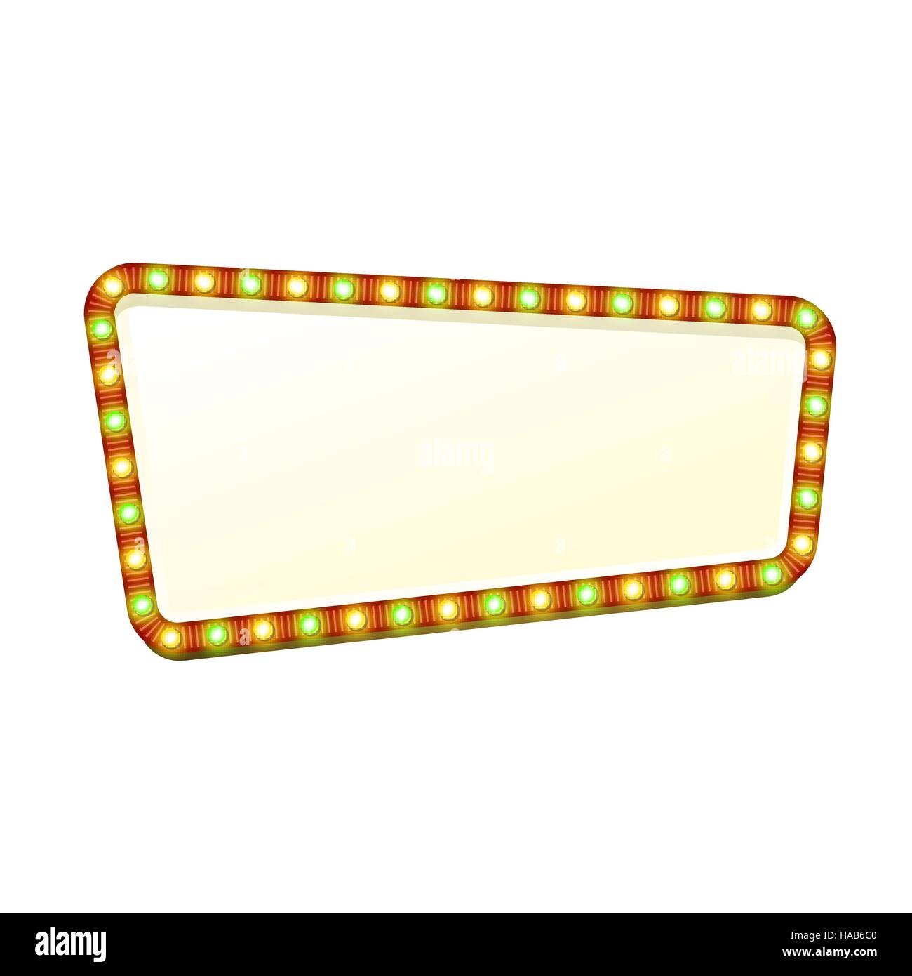 Blank 3d retro light banner with shining lights. Red sign with green and yellow bulbs and bright blank space for - Stock Image