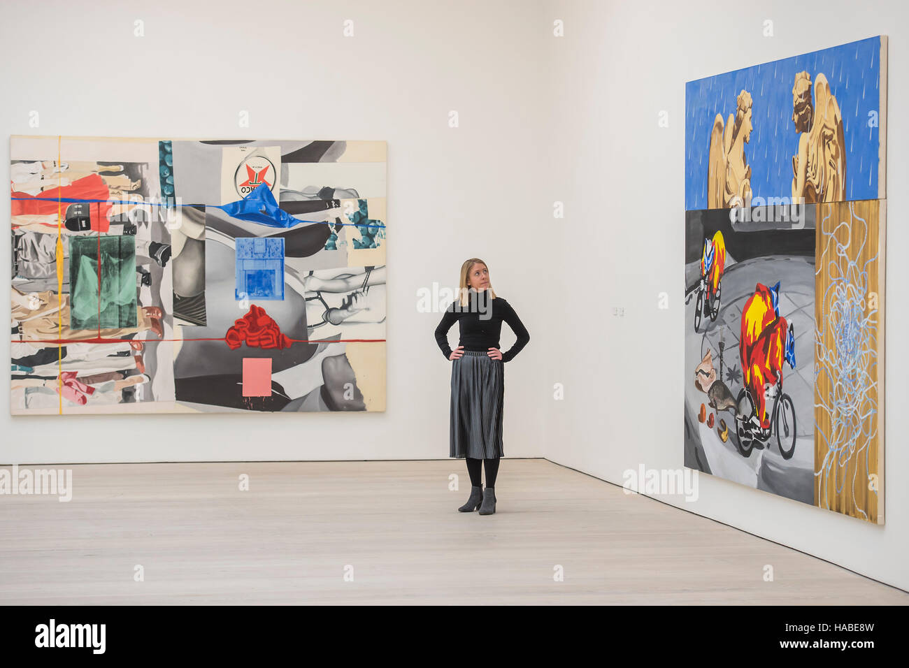 London, UK. 29th Nov, 2016. Picture Builder and Angels in the Rain by David Salle - PAINTERS' PAINTERS: Artists - Stock Image