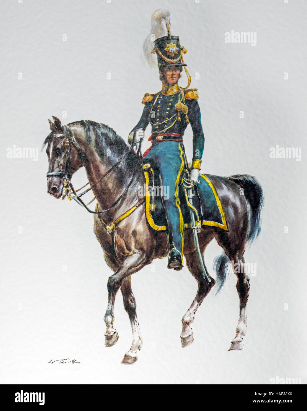 American officer on horseback in 1836 uniform of the United States Regiment of Dragoons - Stock Image