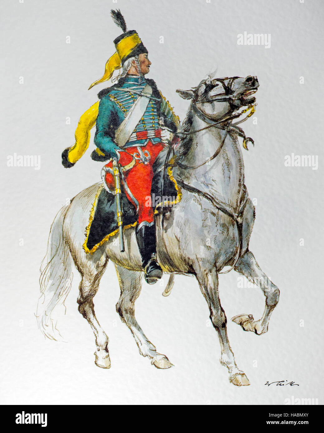 Hussar guide on horseback in uniform of the 1797 German army in the French Republic - Stock Image