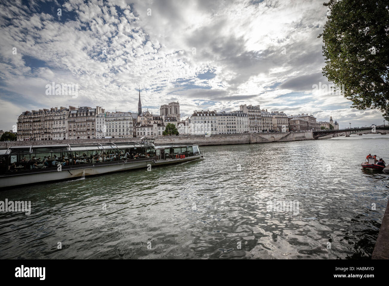 Siene River and Notre Dame from  Pont Louis Philippe - Stock Image