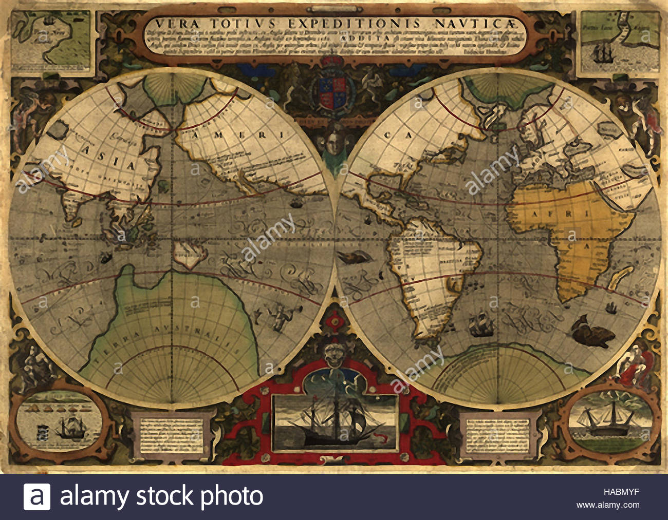 Historical map world stock photos historical map world stock antique historical world mercator map from 1595 map shows expeditions from around the world gumiabroncs Gallery