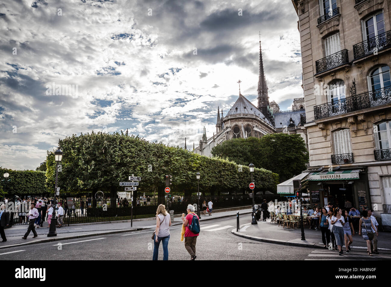 A view of the Notre Dame de Paris from the Pont Saint-Louis - Stock Image