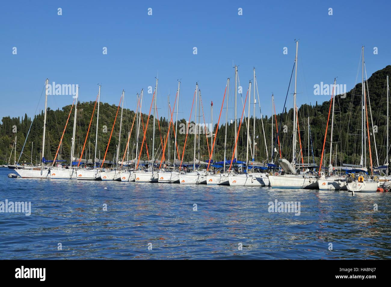 Sailing yachts in Nydri town, Lefkada island, Greece - Stock Image