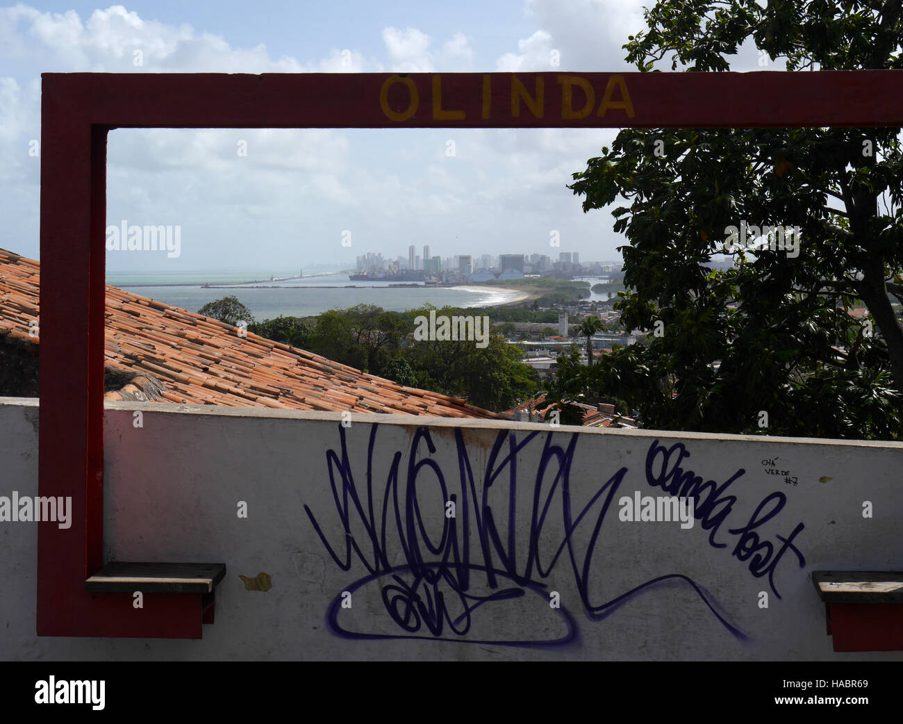 Tourist viewpoint from Olinda towards Recife brazil - Stock Image