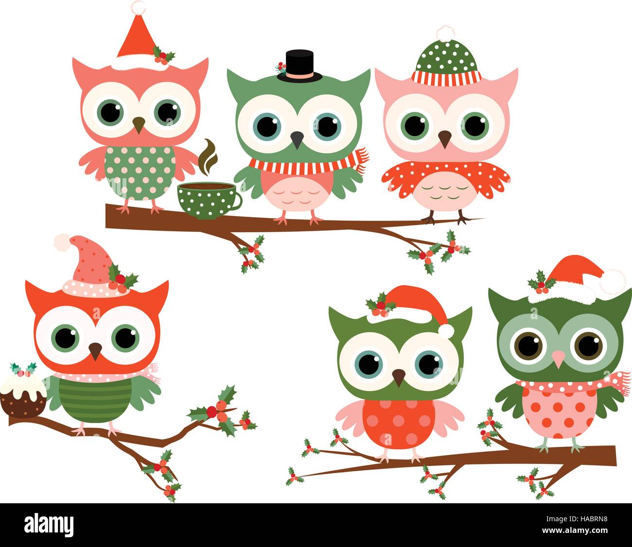 Cute Christmas owl characters on tree branches in green and red ...