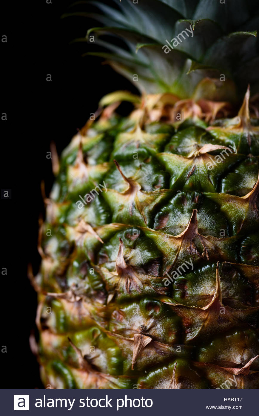 Large ripe pineapple isolated on black background - Stock Image