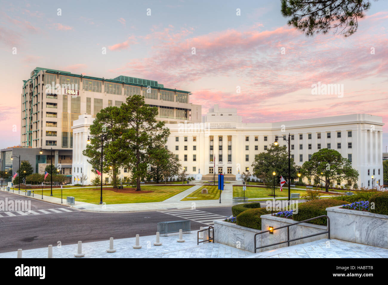 The Lurleen Wallace Office Building shortly before sunrise in Montgomery, Alabama. - Stock Image