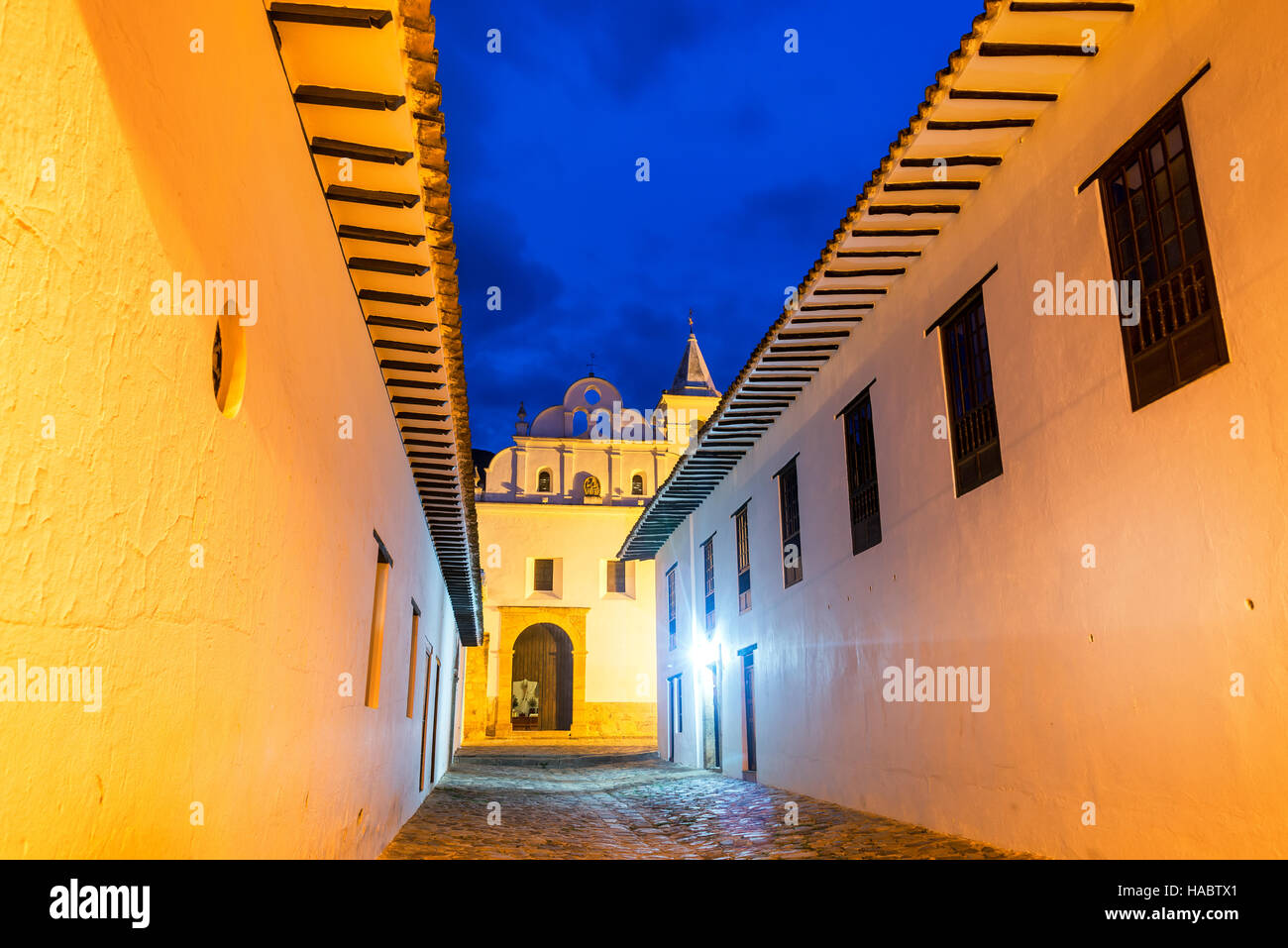 Church and convent of San Francisco taken during the blue hour in Villa de Leyva, Colombia - Stock Image