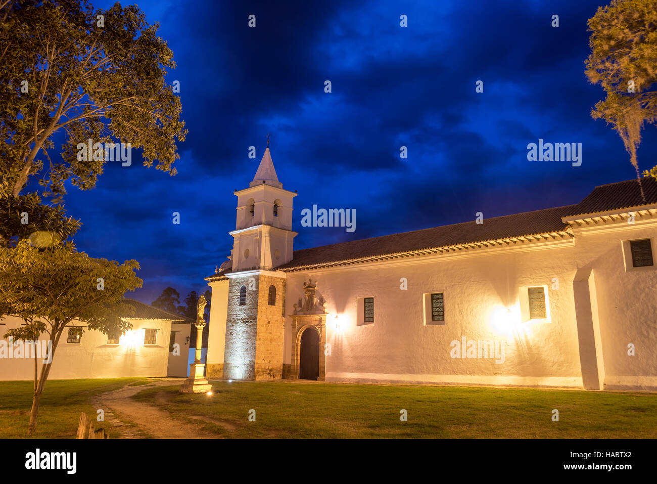Long exposure of San Francisco convent taken during the blue hour in Villa de Leyva, Colombia - Stock Image