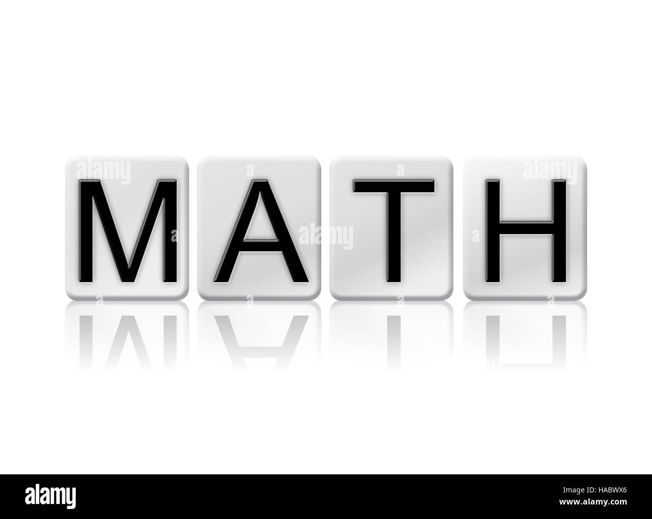 """the word """"math"""" written in tile letters isolated on a white stock"""