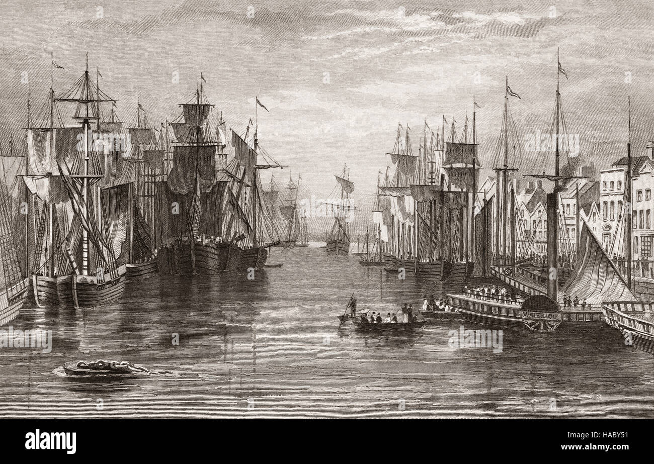 19th Century view of shipping moored alongside Merchant's Quay on the River Lee, Cork City, Ireland - Stock Image
