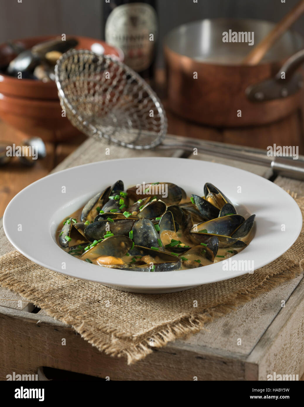 Mussels in Guinness Cream Sauce - Stock Image