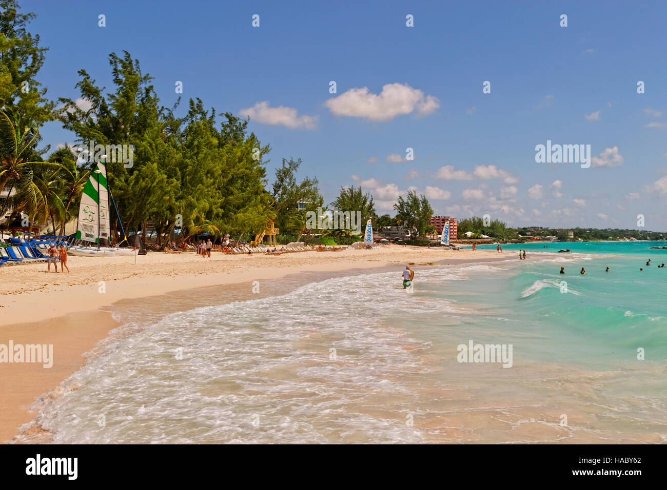 Dover Beach fronting the Turtle Beach Hotel resort and the Sandals resort looking towards Maxwell beach and Oistins. - Stock Image