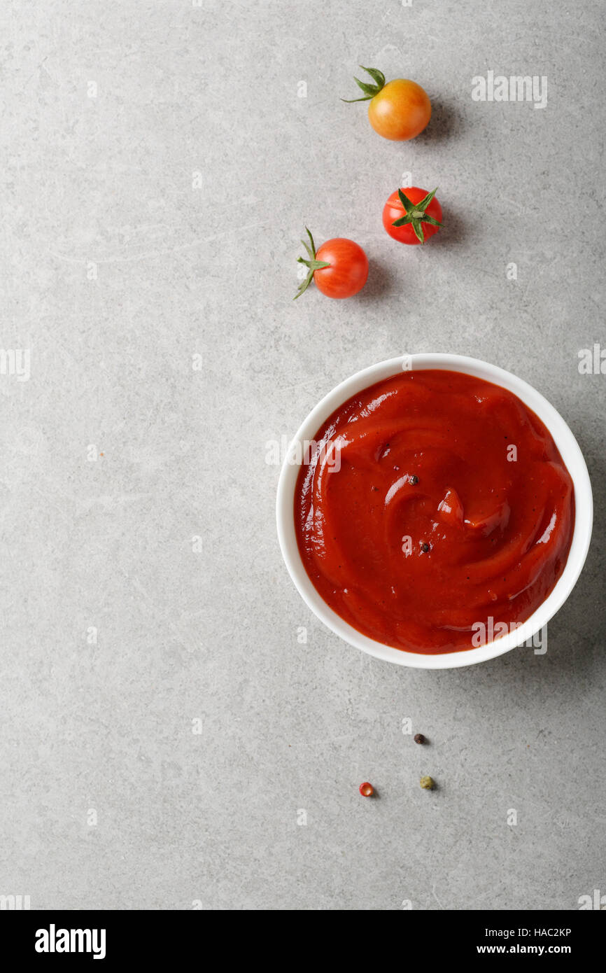 Red spice tomato sauce, food background - Stock Image