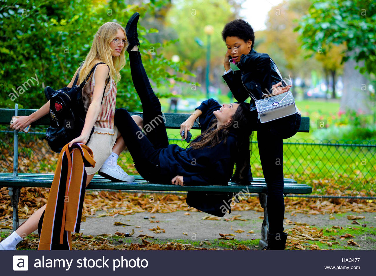 Models (from left) Jess PW,Vittoria Ceretti and, Lineisy Montero, after Chloe, Paris Fashion Week, SS17 FW16 September - Stock Image