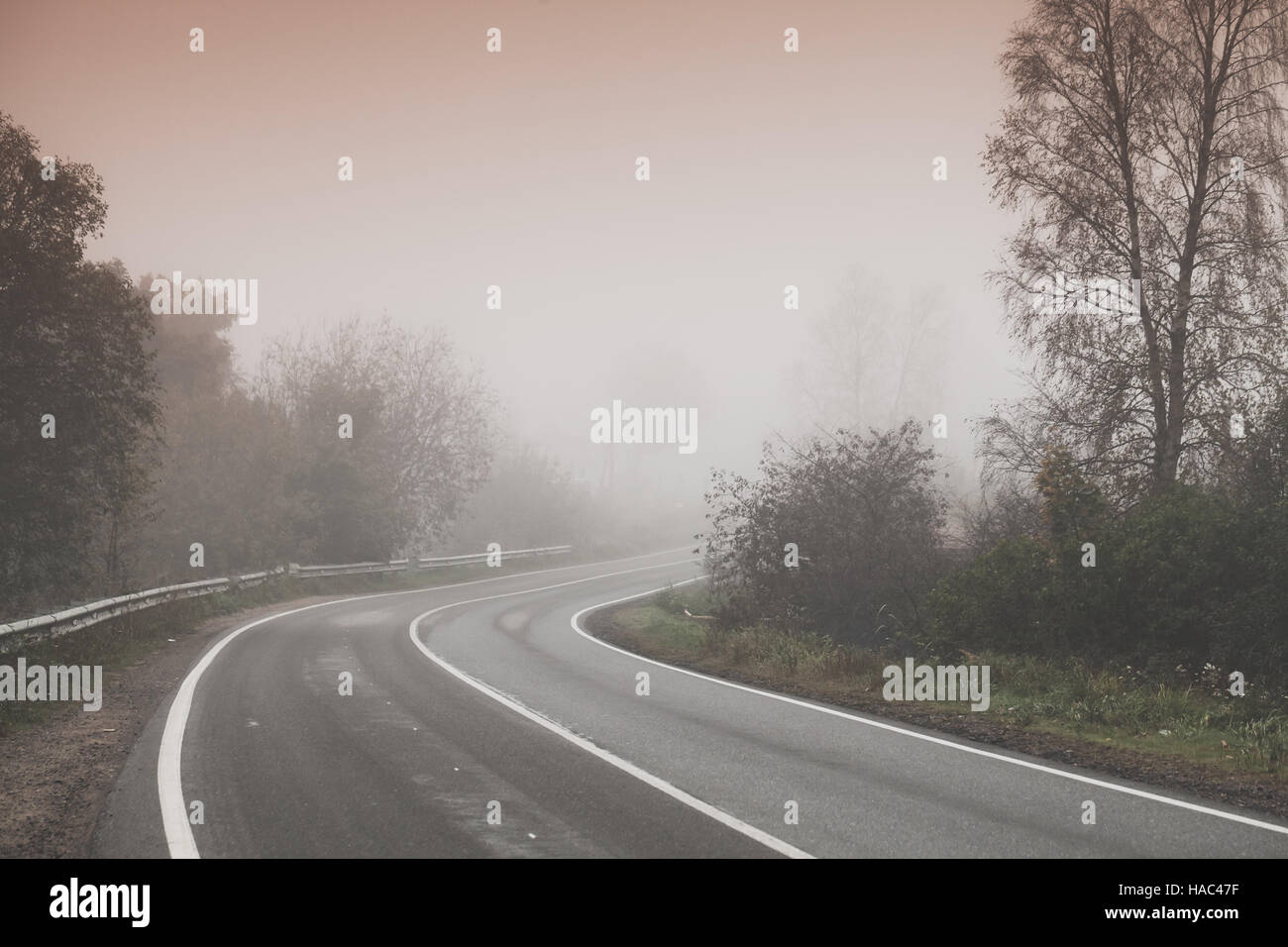 Rural foggy road background photo, turn on highway with trees on roadsides, stylized photo with warm tonal correction effect, old style filter Stock Photo