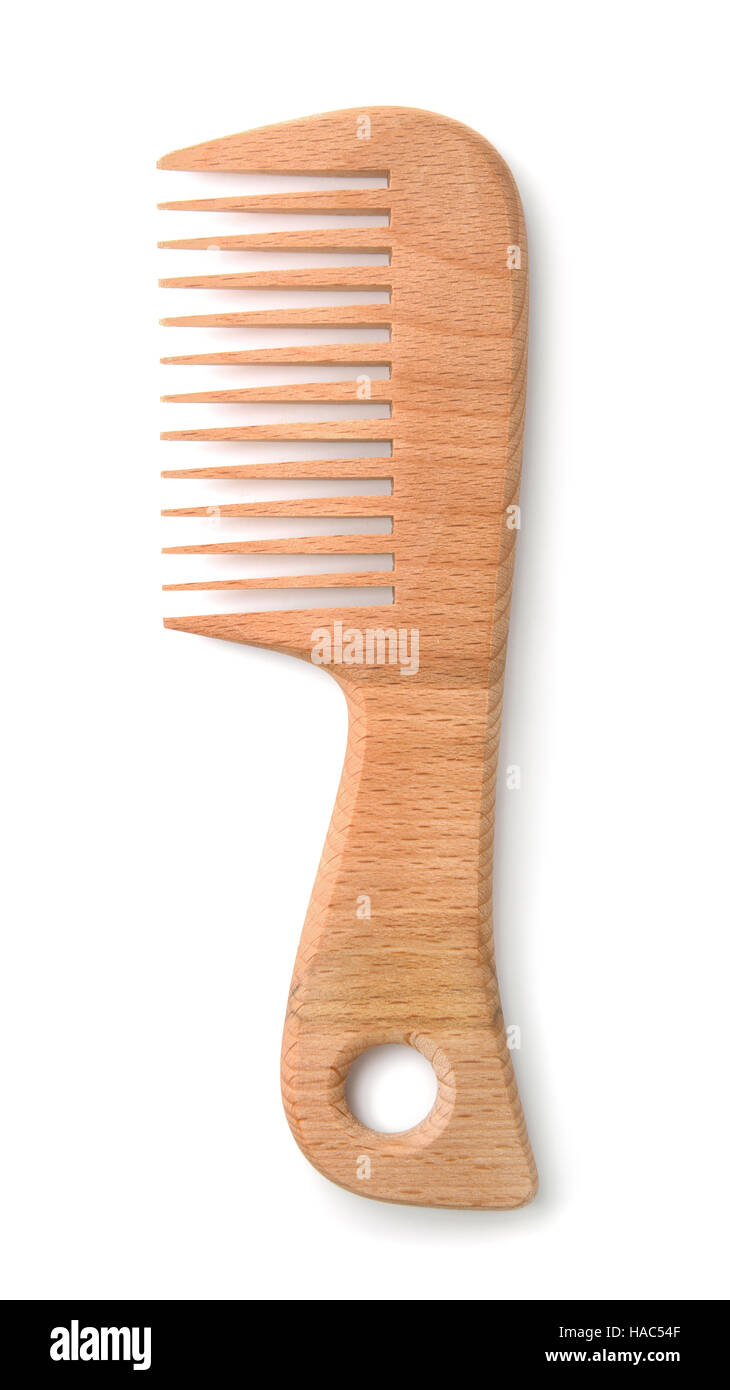 Top view of wooden comb isolated on white - Stock Image