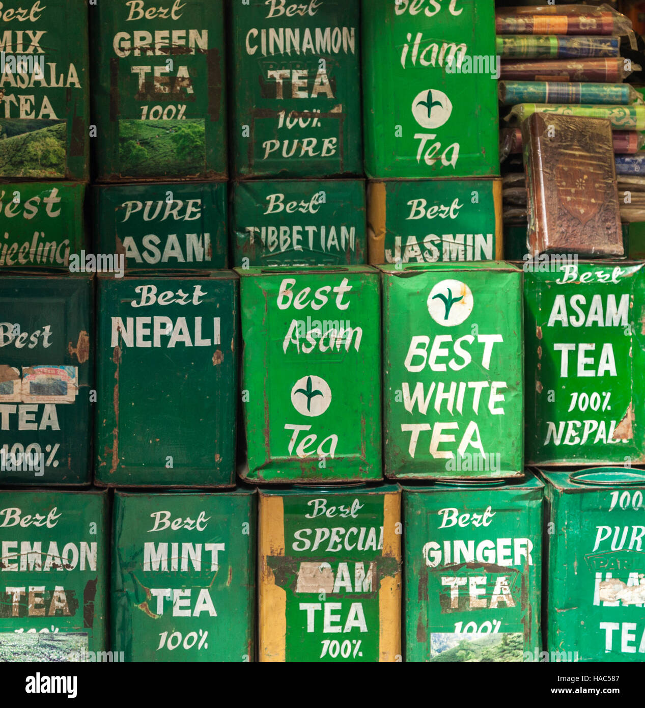 Tins of different teas for sale in a shop in Kathmandu Stock Photo